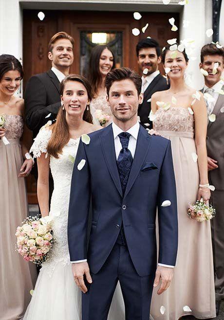 Klassischer Hochzeitsanzug von wilvorst in Blau  - Art. 441103-034