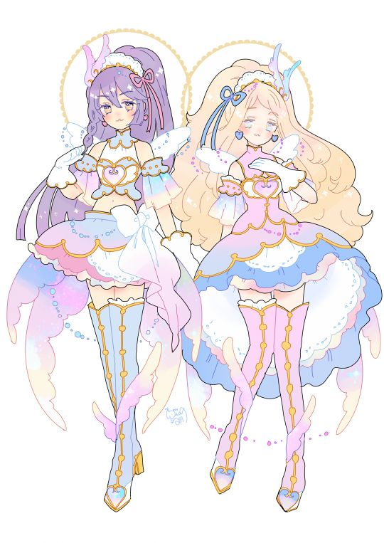"hacuubii: ""day 11 : mythology ena and orime's twin unit Valkyrja. they are wearing the radiant Valhalla coord. as a unit their power is second only to sumika's """
