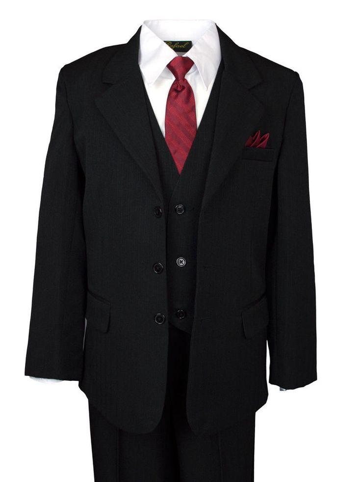 Boys Kids Children Formal Dress Pinstripe Suit& Shirt Infant Toddler 2T-4T 5-20  #BoneInc #SingleBreastedSuit #DressyHolidayPageantWedding