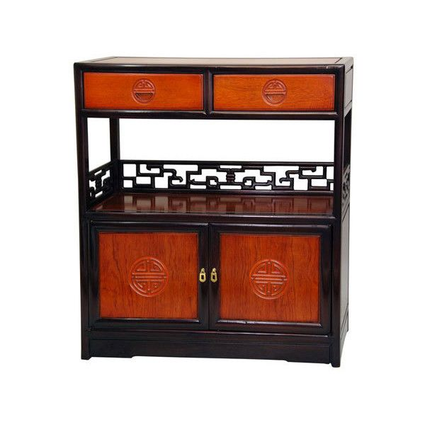 Oriental Furniture Rosewood Long Life Display Cabinet - Two Tone,... ($569) ❤ liked on Polyvore featuring home, furniture, storage & shelves, cabinets, asian rosewood furniture, handmade furniture, key cabinet, shelf cabinet and oriental cabinet