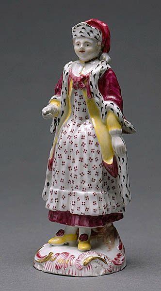 1769 - 1788, Swedish, Manufacturer: Mariebergs Porslinsfabrik, Stockholm, Sweden, Figurin, ryska, klädd i lila hermelinsbrämad mantel, kort gul överklänning