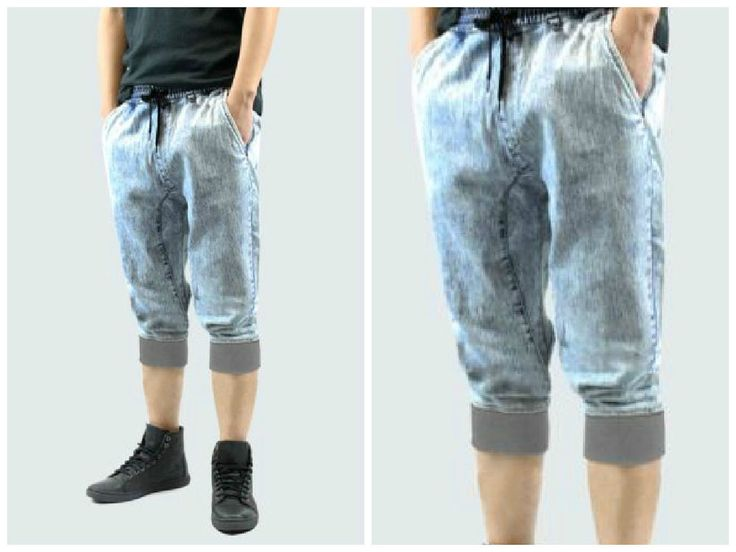 Denim Jogger Shorts Men Long style Drop Crotch band legs  comfortable Ice Blue #KAYDEN #Denim