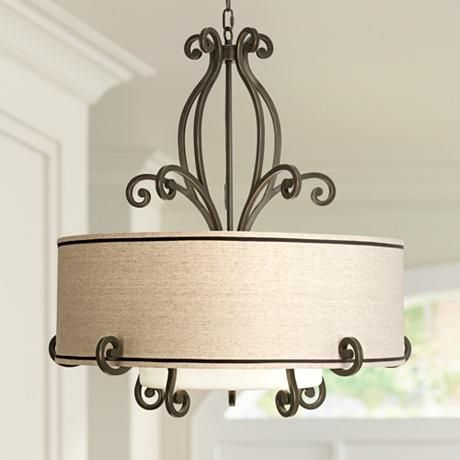 "Kathy Ireland Large Scroll 33"" Wide Bronze Pendant Light - #V6107 