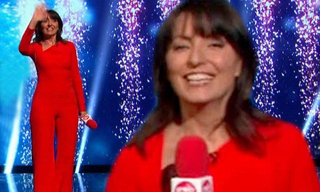 Davina McCall suffers wardrobe malfunction in skintight red catsuit