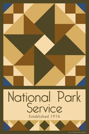 Olde America Antiques | Quilt Blocks | National Parks | Bozeman Montana : Hawaii Volcanoes National Park - National Park Service Quilt Block