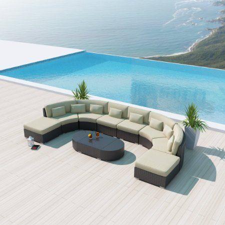 Best Amazon Com New Uduka Vienna 9Pcs Outdoor Light Beige Round Sectional Patio Furniture Espresso 400 x 300