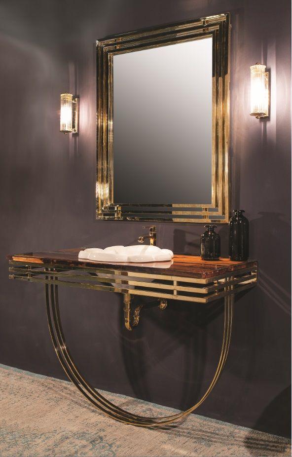 Art Decò 1 - Composizione Completa Cm 121x58 Consolle in ottone con top in Briccola Veneziana resinata lucida.  N.B. :Consolle disponibile in tutte le finiture.