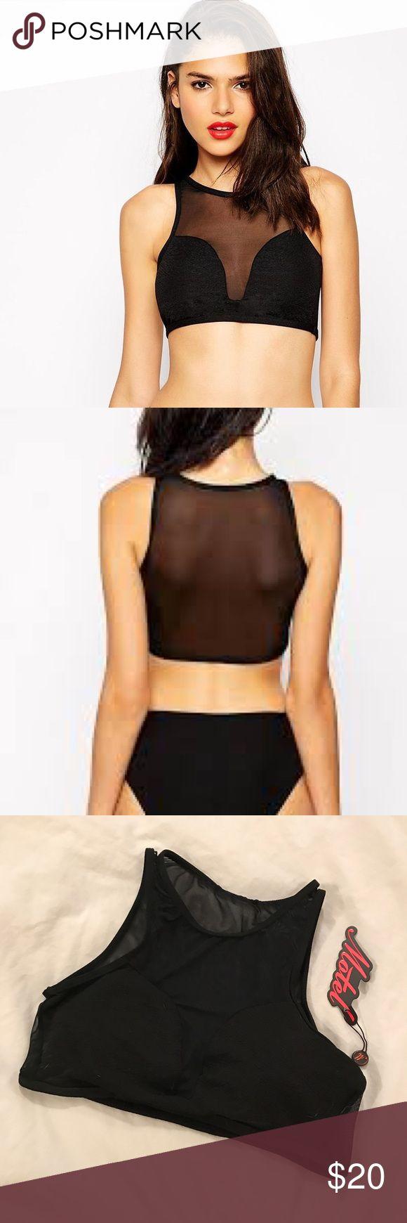 MOTEL Vice Cut Out Bikini Top in Black Textured M Super sexy crop bikini top! NWT. Motel Rocks Swim Bikinis