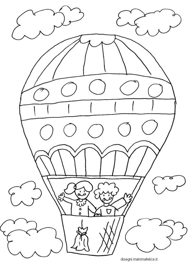 Disegno da colorare per bambini: la mongolfiera.