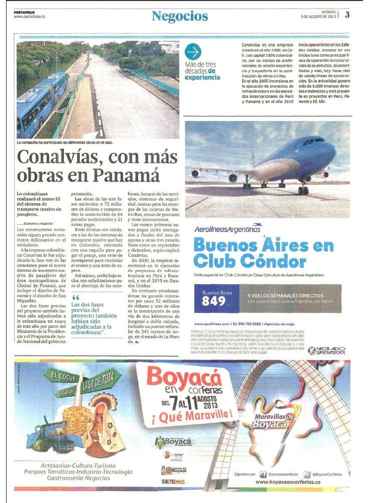 Andres Jaramillo Conalvias con más obras en Panamá. Conalvias con más obras en Panamá.  Periódico Portafolio.  Andres Jaramillo Lopez