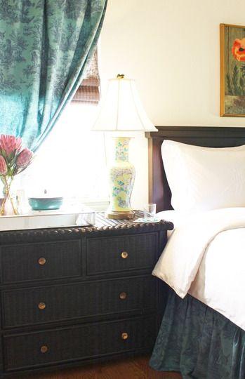 nice curtains: Black Dressers Bedrooms, Paintings Wicker, Wicker Dressers, Bedrooms Makeovers, Coordinating Hands Me Down, Hands Me Down Bedrooms, Coordinating Bedrooms, Black Wicker, Wicker Bedrooms Furniture