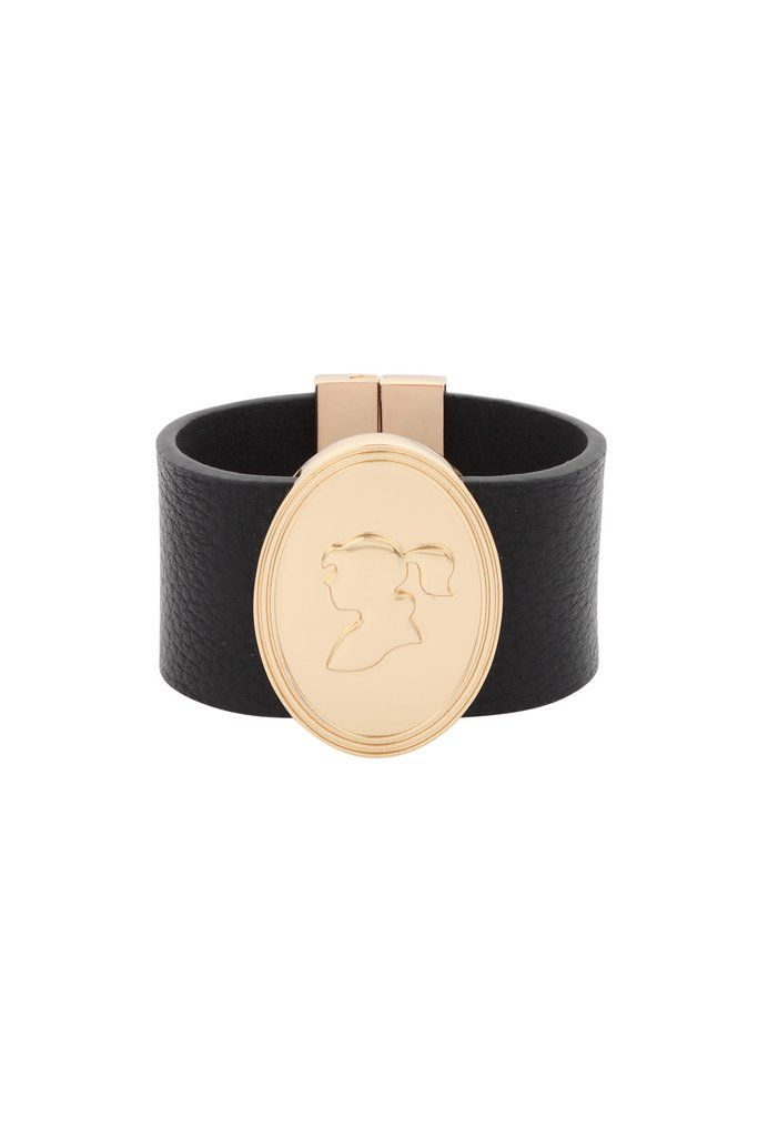 Gold Cameo Leather Cuff - Karen Walker