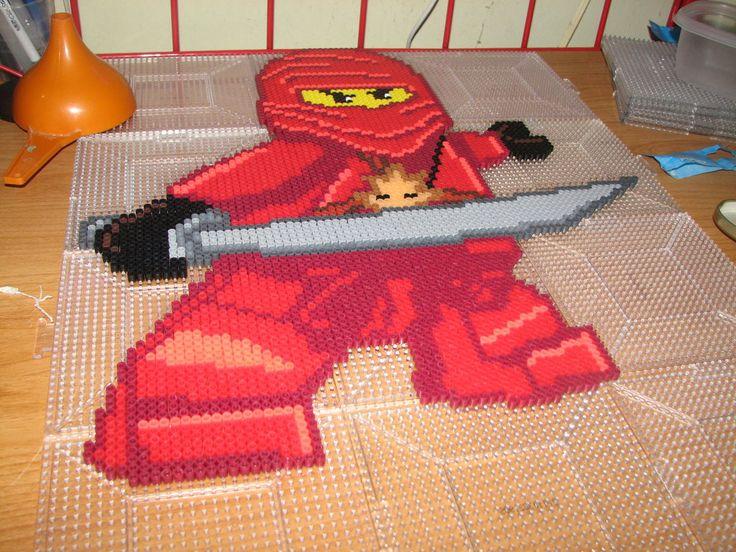 Kai (Red Ninja) Lego Ninjago perler beads by ndbigdi