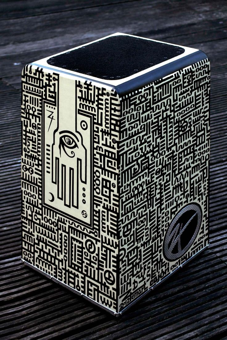 Txemart Cajón (Cajón flamenco) - Codex design drawing over birch wood (resonance box) - 29 x 30 x 48 cm. ©2012 Txema Muñoz