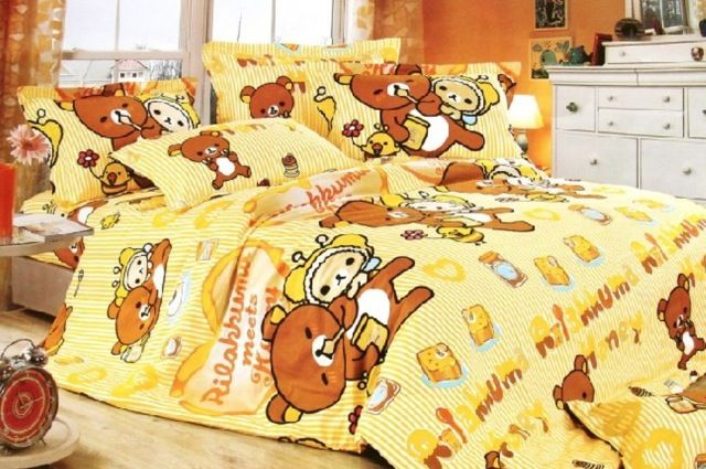 Yellow rilakkuma bed sheets bedroom decorating ideas for Bed decoration with bed sheet