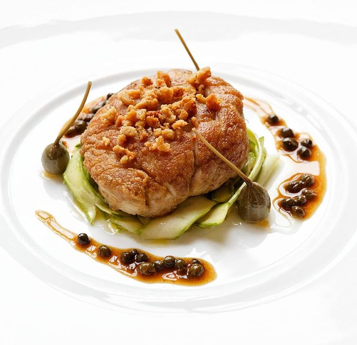 Roast veal sweetbreads, green asparagus and polenta, gravy with capers at Saint James Paris. #RelaisChateaux #SaintJames #SaintJamesParis #Chef #GrandChef