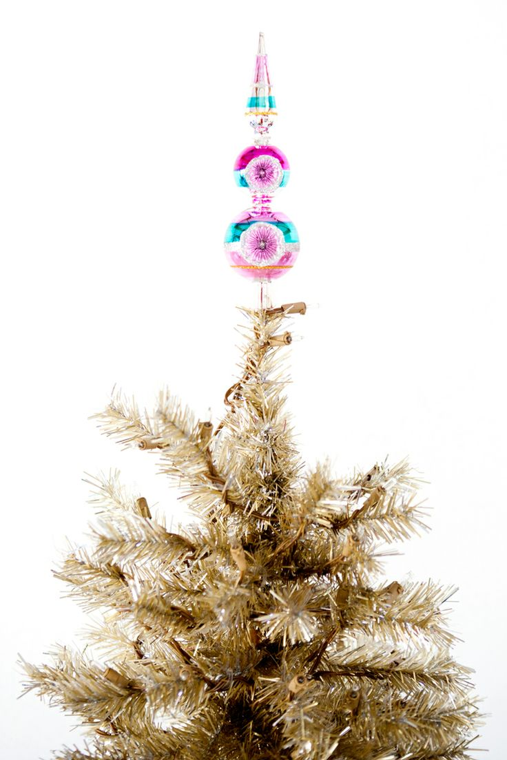 Glass christmas tree with ornaments miniature - A Vintage Inspired Tree Topper
