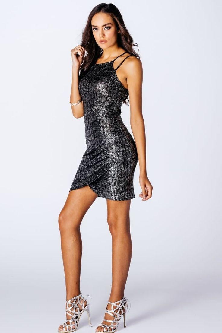 Black Metallic Lurex φόρεμα με διπλές ρυθμιζόμενες τιράντες