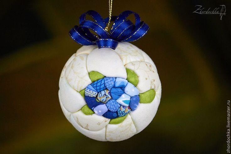 """Купить Лоскутный шар кимекоми """"Черепашка"""" - голубой, елочные игрушки, елочные украшения, елочные шары"""