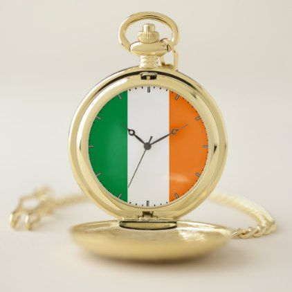 Patriotic Pocket Watch Flag of Ireland - accessories accessory gift idea stylish unique custom