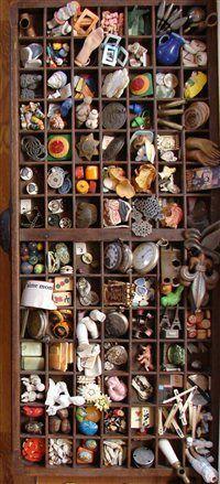 Printer's trays make excellent storage for found objects.  Studios Winter 2012 - Studios Magazine - Cloth Paper Scissors