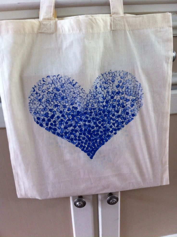 Katoenen tas heb ik een hart gemaakt