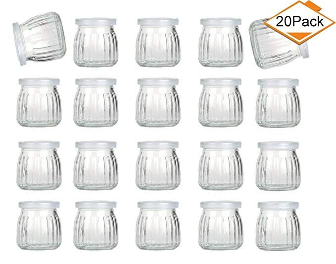 ba61710ac963 Amazon.com: Encheng 4 oz Clear Glass Jars With Lids,Glass Yogurt ...