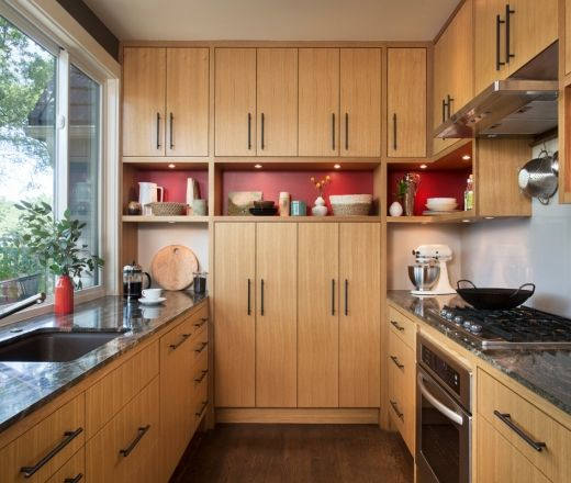 Red Birch Kitchen Cabinets: Modern Red & Birch
