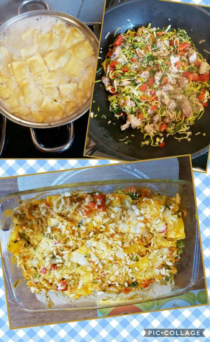 Niet direct lijnvriendelijk maar wel erg lekker! Ravioli met kippendijtjes en paprika en prei. Italiaanse kruiden en romige tomaten mascarpone saus. Alles met wat pijnboompitjes en beetje geraspte kaas even in de oven. (180 graden)
