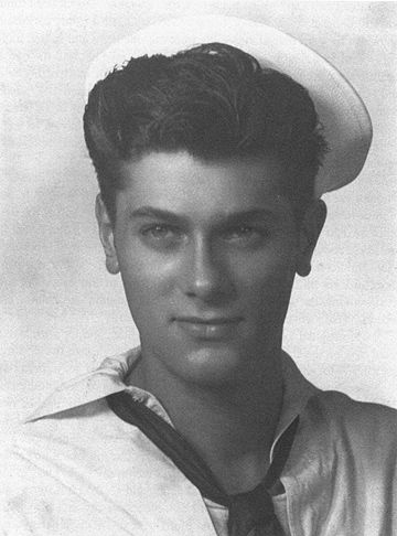 TONY CURTIS (aka Bernard Schwartz) serving in World War II. Before he reinvented himself as a Hollywood star, Curtis served in the U.S. Navy during WWII.  He was seventeen years old when Japan surrendered to the Allied Forces in Toyko bay, where he was stationed. He witnessed the historic signing ceremony aboard his ship, the U.S.S. Proteus.