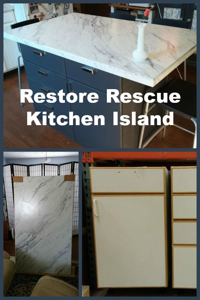 Cabinets found at a Restore Store were used as the base for this DIY Kitchen Island.