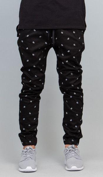 Black Paisley  Drop Crotch Jogger