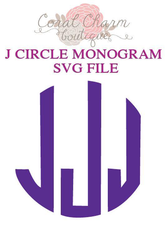 Letter J Circle Monogram Svg File By Coralcharmboutique On