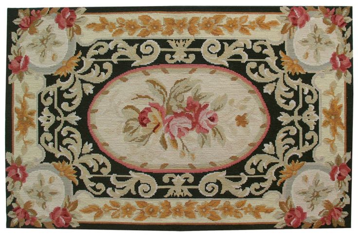 The #needlepoint #rug is entirely hand made and makes a wonderful decoration for the wall as well as the floor. The hand manufacture makes possible the most detailed and elaborate patterns. Don't let delicate appearances fool you, however; these rugs are made to last, and are frequently made into heirlooms.