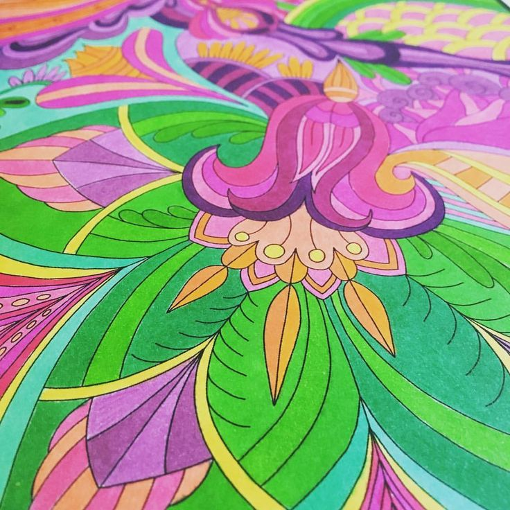 """Mental Images Coloring Books (@paivivesala_art) on Instagram: """"Encouraging colors 💚💖 Coloring book: Mental Images vol 2 Pens: Sharpies"""""""