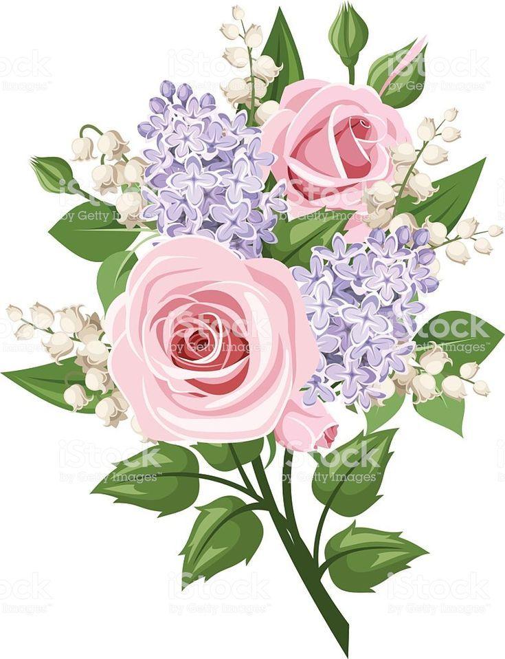 Ramo De Rosas Rosadas Muguete Y Lirio De Flores Ilustracion Vectorial Ilustr De Flores Ilustr Ilustra Lilac Painting Pink Rose Tattoos Lilac Tattoo