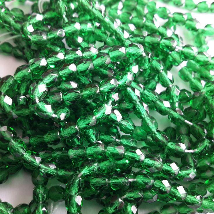 4mm -- Billes de verres polies - vert émeraude fp9057