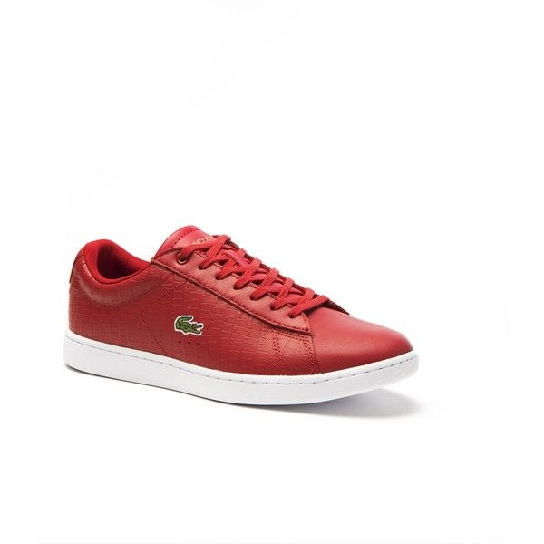Lacoste Women's Red Carnaby Sneakers ($59) ❤ liked on Polyvore featuring shoes, sneakers, lacoste trainers, lacoste sneakers, red shoes, lacoste shoes and lacoste footwear