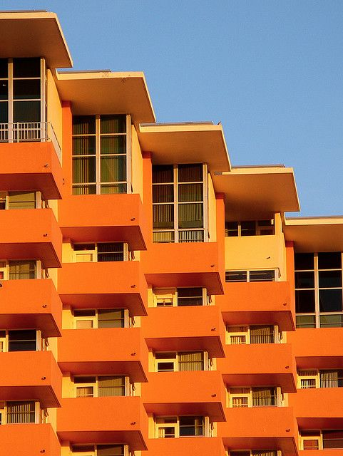 Miami Beach: Architecture Kink, Florida Orange, Beaches Hotels, Miami Color, Klauvázkez Orange, Fruity Orange, Orange Apartment, Miami Beaches, Orange Architecture