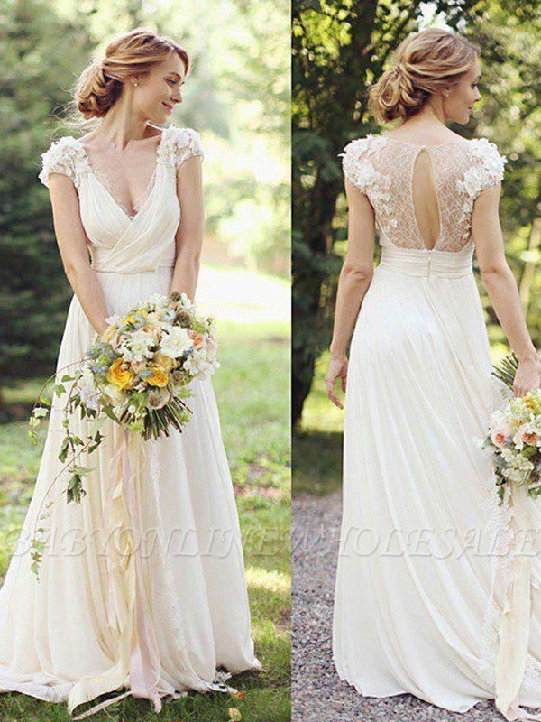 Floor Length A Line Ruched Chiffon V Neck Short Sleeves Wedding