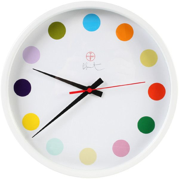 OTHER CRITERIA Small Spot Clock - Damien Hirst (€400) ❤ liked on Polyvore featuring home, home decor, clocks, backgrounds, accessories, decor, web clock, music clock, white clock and butterfly clock