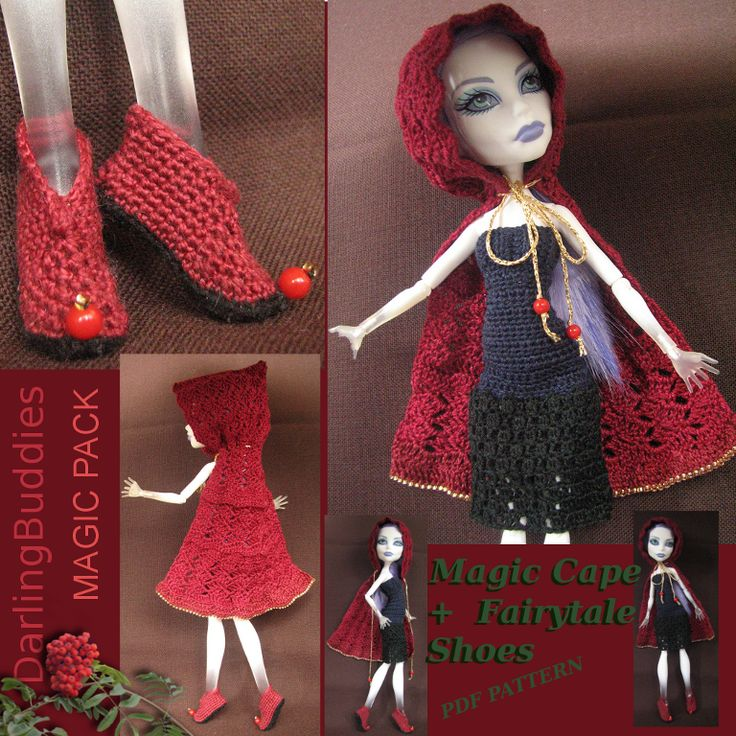 Monster High hooded cape and pointed shoes - crochet (pdf pattern)  Monster High roleplay set ♥  These crochet Monster High shoes can be easily modified and cape can be made longer or shorter. The set was crated for the love of fairy tales.