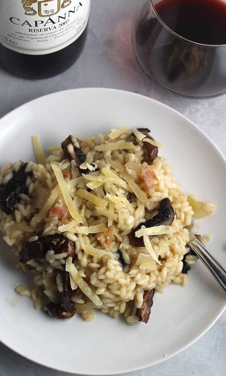Rich, hearty flavors of creamy Roasted Portobello Mushroom Risotto pair nicely with a Brunello red wine. #risotto #Italianfood #brunello