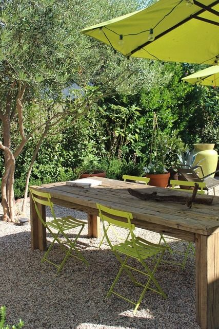 Grant & Mark Transform a Neglected House House TourHouse Tours, Outdoor Living, Rustic Table, Backyards Oasis, Gravel Patios, Wood Tables, Outdoor Tables, Outdoor Spaces, Farms Tables