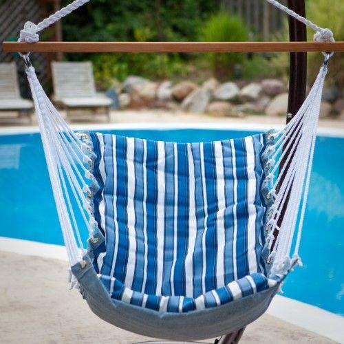 Tropical Palm Stripe Soft Comfort Hanging Hammock Chair