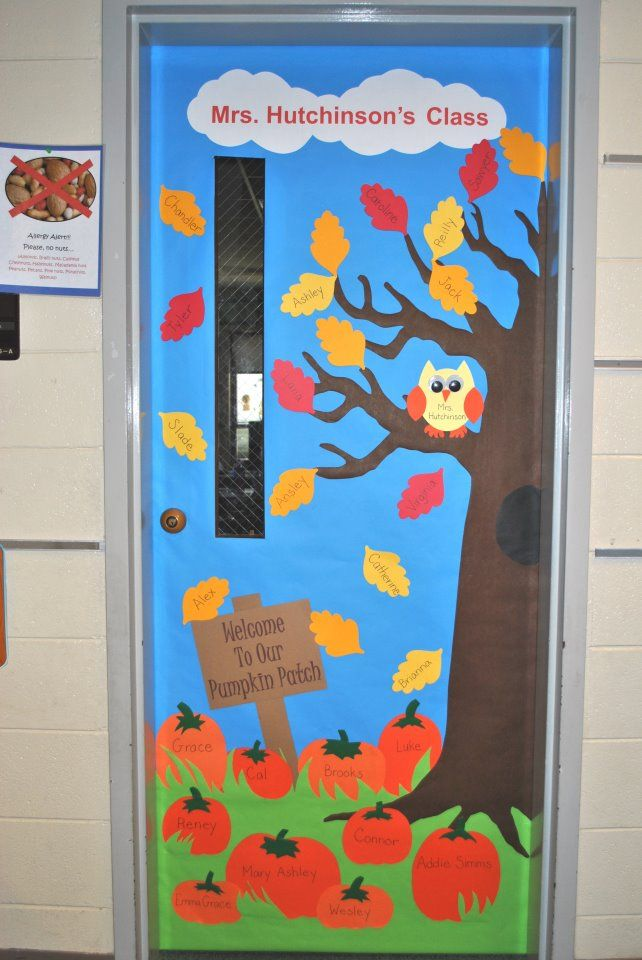 "Fall Classroom Door - The background, grass and tree were cut from the wide butcher block paper at craft stores or parent teacher stores.  Everything else is colored cardstock.  I ran white cardstock through a color printer for the lettering at the top, then taped the pieces together and cut out the clouds.  I also printed ""Welcome To Our Pumpkin Patch"" on brown cardstock for the sign.  The owl has google eyes and the teacher's name on it.  The children's names are on the pumpkins and…"