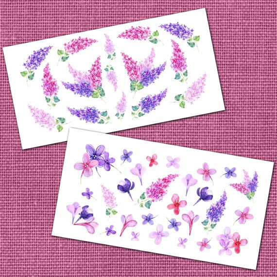 Watercolor Lilac Planner Stickers Erin Condren by StickersaurusRex