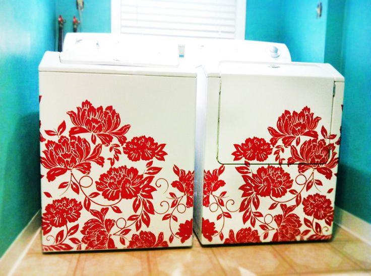 Want to fall in love with your washer and dryer set again? These stunning flocked flower decals apply in one step and completely change the look of your laundry room! Redo your laundry room with an easy and stunning decor piece you wouldn't normally think of!