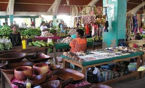 crafts and food at the market, Port Vila, Vanuatu