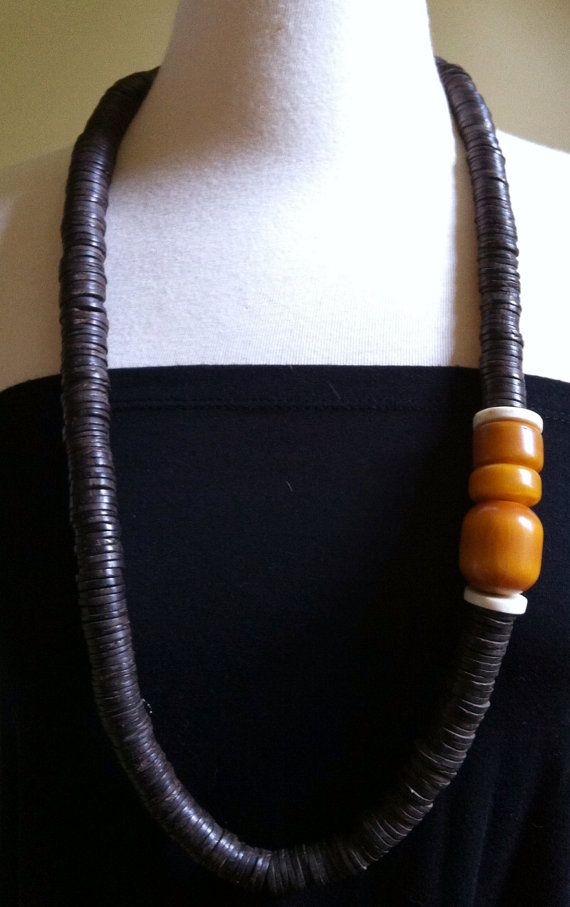 Coconut and Amber necklace by WorkshopVintage on Etsy, $158.00